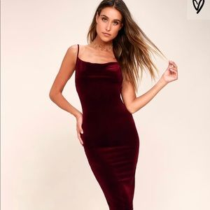 JAZZY BELLE BURGUNDY VELVET DRESS